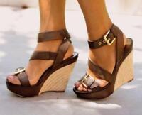 Women Espradrilles High Wedge Heels Platform Open Toe Roman Buckle Strap Sandals