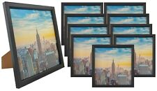 Frame Amo 8x8 Black Wood Picture Frame, Glass Front, Wall or Table 1, 3, 10 PACK