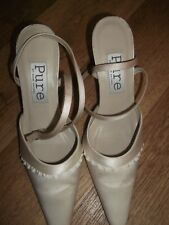 DIANE HASSALL PURE IVORY SATIN BRIDAL SHOES SIZE UK 4