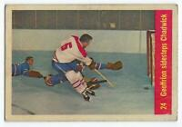 1957-58 Parkhurst Montreal Canadiens Hockey Card #24 Geoffrion sidestep Chadwick