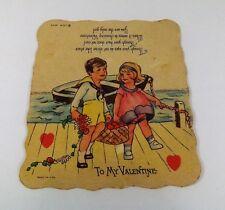 "Vintage 1940's Valentine Card Little Boy & Girl Rowboat Picnic 3 7/8"" x 3 1/2"""