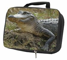 More details for crocodile print black insulated school lunch box bag, ar-c1lbb