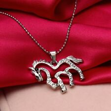 Women's Silver Filled Cute Rhinestone Horse Pendant Necklace Jewellery Gift UK