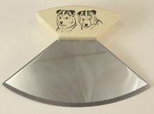 Ulu Knife has Imitation Ivory Handle with Imitation Scrimshaw of 2 Husky Dogs