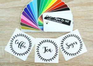 Kitchen Storage Coffee Tea Sugar Jar Labels Stickers Vinyl Decals Adhesive Black