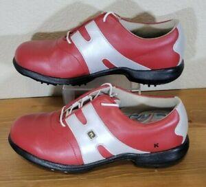 Footjoy Women's Red/Grey/Black Leather Dry Joy Golf Shoes - Size 8M