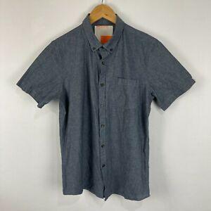 Modern Amusement Mens Button Up Shirt Small Grey Short Sleeve Collared