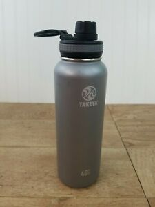 Takeya Insulated Stainless Steel Water Bottle, 40 Oz, Grey/Gray EUC Fast Ship