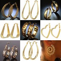 Fashion Women 18k Yellow Gold plated Stud Hoop Dangle Earrings Wedding Jewelry