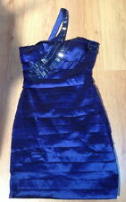 ASOS NAZZ BANDAGE DRESS SALSA Stretch Blau Satin Gr 32 34 + Strass Ring* gratis
