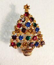 Eisenberg Ice Crystal Christmas Tree Pin Brooch Multi Color 1.75x1.25 Ships Free