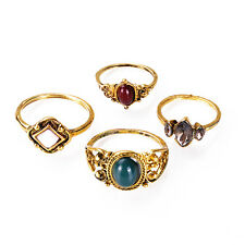 New Fashion Bohemia Carved Flower Nature Stone Gold Silver Alloy Rings Jewelry