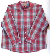 5XL Men's Plaid Shirt-Foundry Supply Co.-Light Gray Baked Apple-Easy Care-NWT