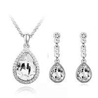 White Silver Water Drop Rhinestones Jewellery Set Drop Earrings & Necklace S504