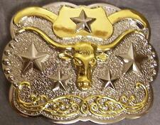 Metal belt buckle 2 tone Texas Longhorn & Stars NEW
