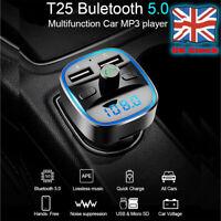 Wireless Bluetooth 5.0 FM Transmitter Car Dual USB Charger MP3 Player TF Card UK