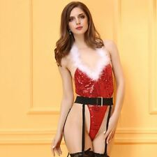 Sexy Christmas Outfit Santa Costume Lingerie Bodysuit Nightwear XMas Babydoll