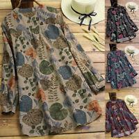 Spring Women's Floral Print O-Neck Long Sleeve Shirt Blouse Long Tops Plus Size
