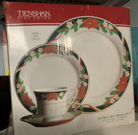 Tienshan Fine China Deck The Halls 16Pc Dinnerware Set Full Service for 4