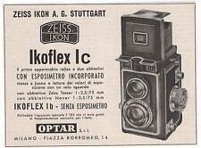 Pubblicità 1956 IKOFLEX REFLEX ZEISS IKON FOTO PHOTO advert werbung publicitè