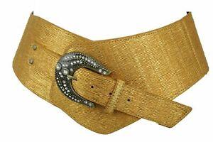 Women Waist Hip Metallic Gold Wide Western Corset Fashion Belt Plus Size XL XXL