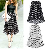 Women Summer Chiffon Skirt Polka Dot Pleated A-line Long Dress Elastic Waist US
