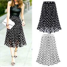 3ee8d823b Women Summer Wave Print Chiffon Skirt Dots Long Pleated A-line Long Dress US
