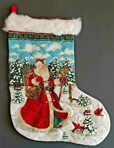 Handmade Santa Christmas Stocking Quilted Embelished Glitter Faux Fur Cuff