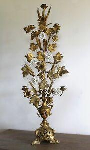 Ancien grand chandelier église bougeoir candélabre bronze 7 feux haut 111 cm