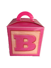 50 Baby Girl Pink 5 Inch Cube Favour Gift Box with Handle Gable Box