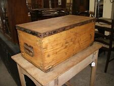 2' Vintage Solid Pine Chest Small Trunk Toy Storage Craft Hobby Tool Box Old