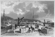 DEVON. Plymouth Breakwater, from the West 1829 old antique print picture