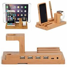 Desktop Wood Charge Dock Stand Holder For Apple Watch iPhone i Pad Tablet Phones
