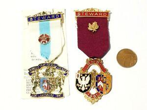 2 x Vintage 1981 & 1997 Enamel Masonic RMBI Steward Medals / Jewels #H25