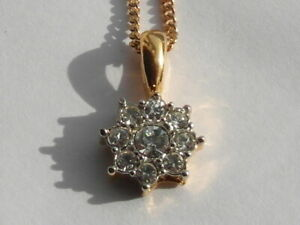 """15N Ladies Gold plated cz star/flower pendent with 17.6"""" chain necklace"""