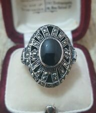 VINTAGE 925 STERLING SILVER COCKTAIL RING, ONYX & MARCASITE,SIZE P, SOLID SILVER