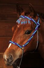 Hand Braided Miniature Show Halter, Horse Tack, PURPLE / TURQUOISE --NEW!