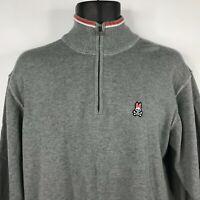 Psycho Bunny Mens Gray Classic 1/4 Zip Pima Cotton Knit Sweater Size XL