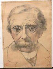 """ANTO CARTE """"PORTAIT D'EMILE VERHAEREN"""" ORIGINAL COLOR LITHOGRAPH DATED 1918"""