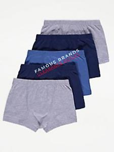 Ex Store 5 x Pack Kids Boys Boxers Shorts Trunks Underwear Underpants Plain