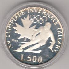 SAN MARINO 1988 LIRE 500  ARGENTO FONDO SPECCHIO Olimpiadi INVERNALI CALGARY