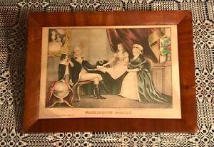Kellogg and Comstock Print WASHINGTON FAMILY Period Wood Frame 1845-1846 SCARCE