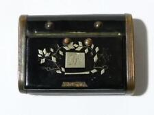 19thC Black Lacquered Snuff Box with Silver Metal Inlaid Lid Initials AB