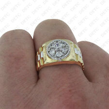 Solid 10k Yellow Gold Men's Two Toned Cocktail Fashion Wedding Band Pinky Ring