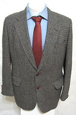 DAKS Tweed Blazer Jacket Gray 40 R 100% Wool USA Brown Leather Button Sport Coat