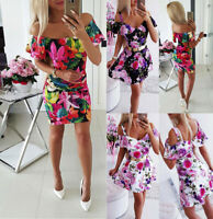 Fashion Women's Sexy Floral Printed Off Shoulder Tight Sheath Dress Mini Dresses