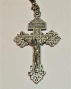 VTG Jesus Nazarenus Rex Judaeorum Sacred Heart Crucifix 56 x 34mm Cross pendant