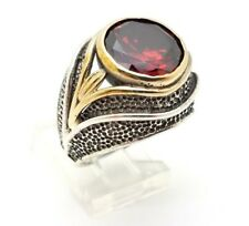925 STERLING SILVER BRONZE HANDMADE ROUND RED RUBY WOMEN'S BOHO RING SIZE 8.5 US