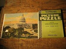 "VINTAGE SUPREME PICTURE PUZZLE ""CAPITOL AT WASHINGTON"" 200 PIECES"