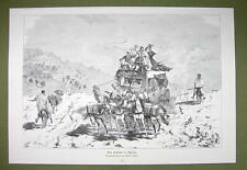 ALGERIA Mail Delivery Horse Carriage WIld Ride - VICTORIAN Era Print